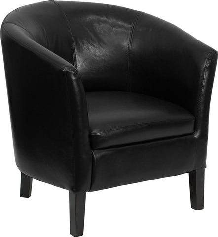 Black Leather Barrel Shaped Guest Chair GO-S-11-BK-BARREL-GG by Flash Furniture - Peazz Furniture
