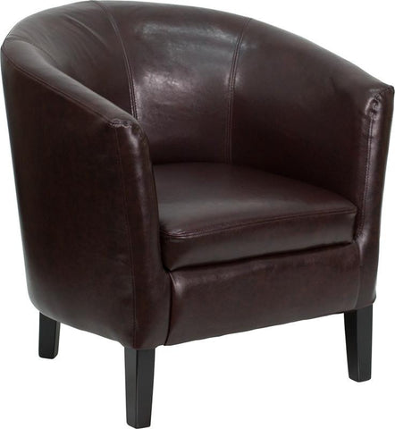 Brown Leather Barrel Shaped Guest Chair GO-S-11-BN-BARREL-GG by Flash Furniture - Peazz Furniture
