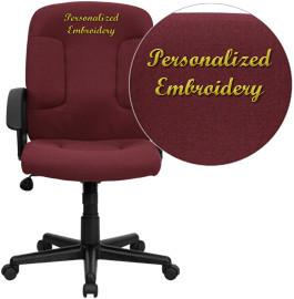 Flash Furniture GO-ST-6-BY-EMB-GG Embroidered Mid-Back Burgundy Fabric Task and Computer Chair with Nylon Arms - Peazz Furniture