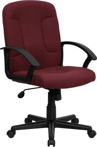 Mid-Back Burgundy Fabric Task and Computer Chair with Nylon Arms GO-ST-6-BY-GG by Flash Furniture - Peazz Furniture