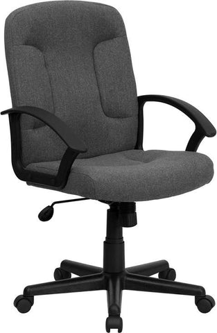 Mid-Back Gray Fabric Task and Computer Chair with Nylon Arms GO-ST-6-GY-GG by Flash Furniture - Peazz Furniture