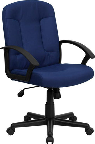 Mid-Back Navy Fabric Task and Computer Chair with Nylon Arms GO-ST-6-NVY-GG by Flash Furniture - Peazz Furniture