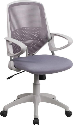 Flash Furniture H-0549FX-DK-GY-GG Mid-Back Dark Gray Mesh Office Chair - Peazz Furniture