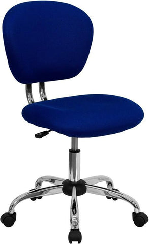 Mid-Back Blue Mesh Task Chair with Chrome Base H-2376-F-BLUE-GG by Flash Furniture - Peazz Furniture
