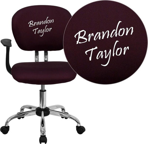 Flash Furniture H-2376-F-BY-ARMS-EMB-GG Embroidered Mid-Back Burgundy Mesh Task Chair with Arms and Chrome Base - Peazz Furniture