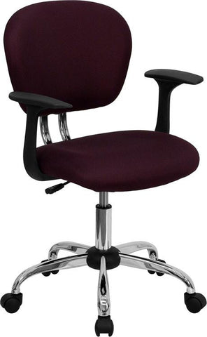 Mid-Back Burgundy Mesh Task Chair with Arms and Chrome Base H-2376-F-BY-ARMS-GG by Flash Furniture - Peazz Furniture