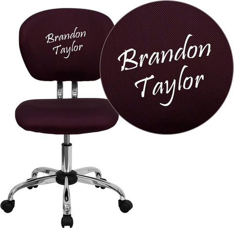 Flash Furniture H-2376-F-BY-EMB-GG Embroidered Mid-Back Burgundy Mesh Task Chair with Chrome Base - Peazz Furniture