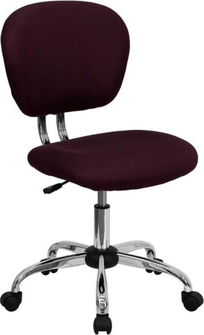 Mid-Back Burgundy Mesh Task Chair with Chrome Base H-2376-F-BY-GG by Flash Furniture - Peazz Furniture