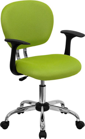 Mid-Back Apple Green Mesh Task Chair with Arms and Chrome Base H-2376-F-GN-ARMS-GG by Flash Furniture - Peazz Furniture