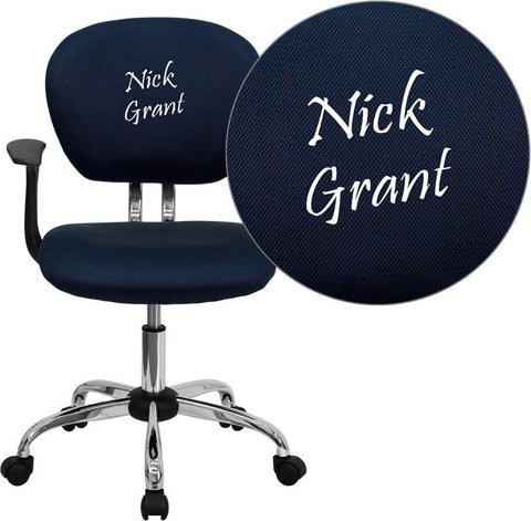Flash Furniture H-2376-F-NAVY-ARMS-EMB-GG Embroidered Mid-Back Navy Mesh Task Chair with Arms and Chrome Base - Peazz Furniture