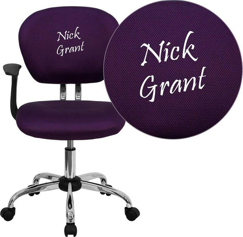 Flash Furniture H-2376-F-PUR-ARMS-EMB-GG Embroidered Mid-Back Purple Mesh Task Chair with Arms and Chrome Base - Peazz Furniture