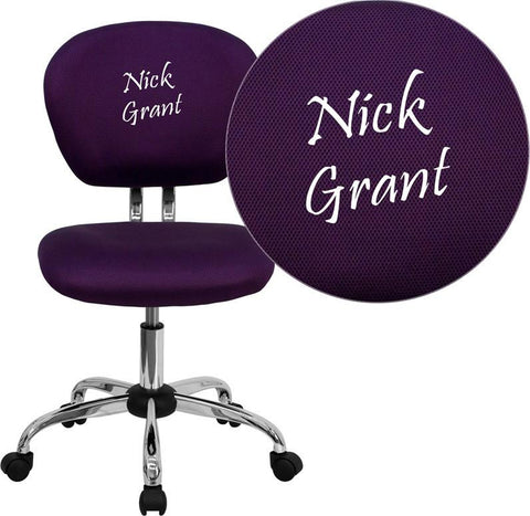 Flash Furniture H-2376-F-PUR-EMB-GG Embroidered Mid-Back Purple Mesh Task Chair with Chrome Base - Peazz Furniture