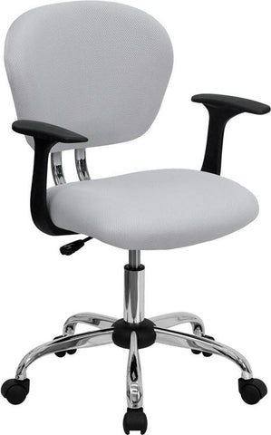Mid-Back White Mesh Task Chair with Arms and Chrome Base H-2376-F-WHT-ARMS-GG by Flash Furniture - Peazz Furniture