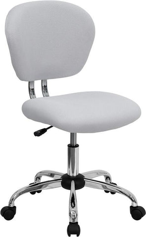 Mid-Back White Mesh Task Chair with Chrome Base H-2376-F-WHT-GG by Flash Furniture - Peazz Furniture