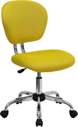 Mid-Back Yellow Mesh Task Chair with Chrome Base H-2376-F-YEL-GG by Flash Furniture - Peazz Furniture