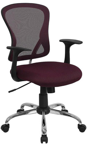 Mid-Back Burgundy Mesh Office Chair with Chrome Finished Base H-8369F-ALL-BY-GG by Flash Furniture - Peazz Furniture