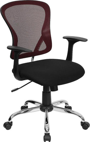 Mid-Back Burgundy Mesh Office Chair with Black Fabric Seat and Chrome Finished Base H-8369F-BG-GG by Flash Furniture - Peazz Furniture