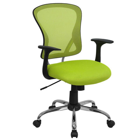 Mid-Back Green Mesh Office Chair with Chrome Finished Base H-8369F-GN-GG by Flash Furniture - Peazz Furniture