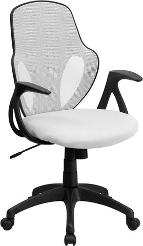 Flash Furniture H-8880F-WHT-GG Mid-Back Executive White Mesh Chair with Nylon Base - Peazz Furniture
