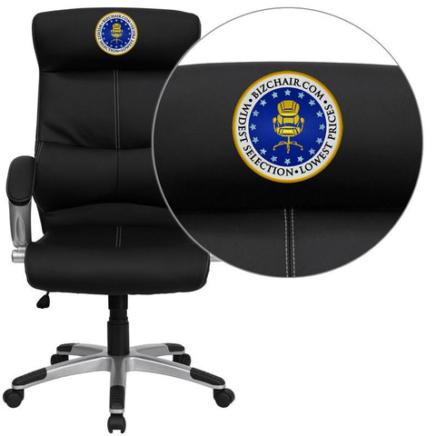 Flash Furniture H-9637L-1C-HIGH-EMB-GG Embroidered High Back Black Leather Executive Office Chair - Peazz Furniture