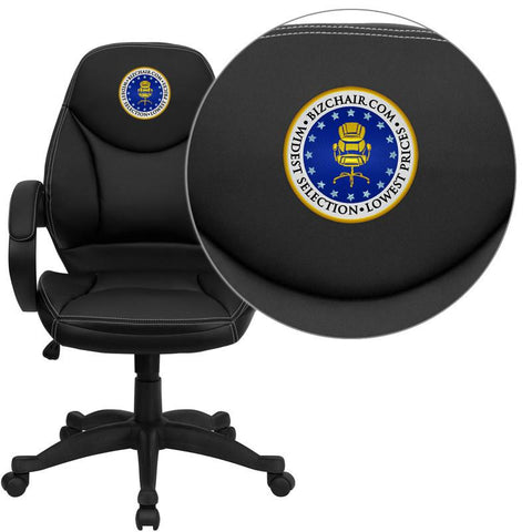 Flash Furniture H-HLC-0005-MID-1B-EMB-GG Embroidered Mid-Back Black Leather Contemporary Office Chair - Peazz Furniture