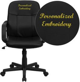 Flash Furniture H8020-EMB-GG Embroidered Mid-Back Black Glove Vinyl Executive Office Chair - Peazz Furniture