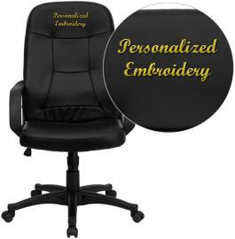 Flash Furniture H8021-EMB-GG Embroidered High Back Black Glove Vinyl Executive Office Chair - Peazz Furniture