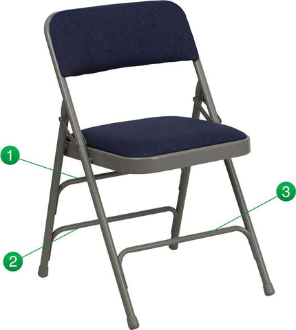 Flash Furniture HA-MC309AF-NVY-GG HERCULES Series Curved Triple Braced & Quad Hinged Navy Fabric Upholstered Metal Folding Chair - Peazz Furniture