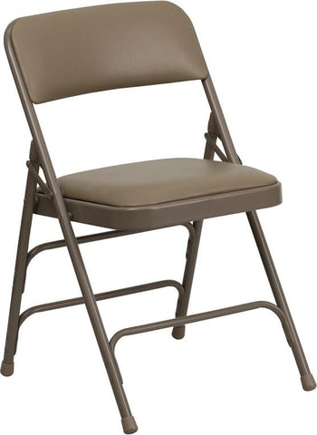 HERCULES Series Curved Triple Braced & Quad Hinged Beige Vinyl Upholstered Metal Folding Chair HA-MC309AV-BGE-GG by Flash Furniture - Peazz Furniture