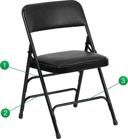 Flash Furniture HA-MC309AV-BK-GG HERCULES Series Curved Triple Braced & Quad Hinged Black Vinyl Upholstered Metal Folding Chair - Peazz Furniture