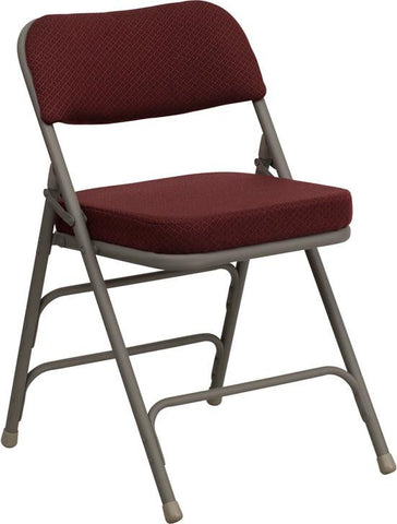 HERCULES Series Premium Curved Triple Braced & Quad Hinged Burgundy Fabric Upholstered Metal Folding Chair HA-MC320AF-BG-GG by Flash Furniture - Peazz Furniture