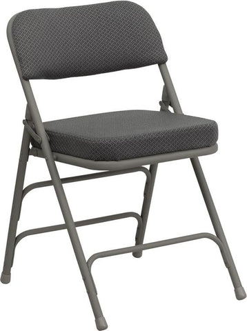 HERCULES Series Premium Curved Triple Braced & Quad Hinged Gray Fabric Upholstered Metal Folding Chair HA-MC320AF-GRY-GG by Flash Furniture - Peazz Furniture