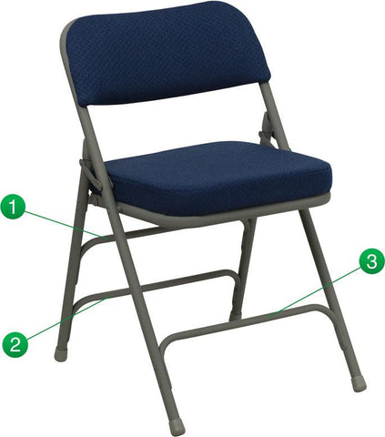 Flash Furniture HA-MC320AF-NVY-GG HERCULES Series Premium Curved Triple Braced & Quad Hinged Navy Fabric Upholstered Metal Folding Chair - Peazz Furniture
