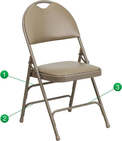 Flash Furniture HA-MC705AV-3-BGE-GG HERCULES Series Extra Large Ultra-Premium Triple Braced Beige Vinyl Metal Folding Chair with Easy-Carry Handle - Peazz Furniture