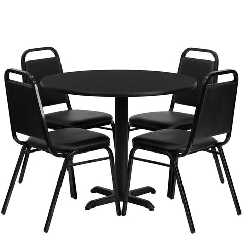 Flash Furniture HDBF1001-GG 36'' Round Black Laminate Table Set with 4 Black Trapezoidal Back Banquet Chairs - Peazz Furniture