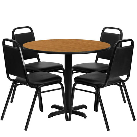 Flash Furniture HDBF1003-GG 36'' Round Natural Laminate Table Set with 4 Black Trapezoidal Back Banquet Chairs - Peazz Furniture