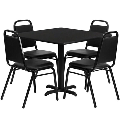 Flash Furniture HDBF1009-GG 36'' Square Black Laminate Table Set with 4 Black Trapezoidal Back Banquet Chairs - Peazz Furniture