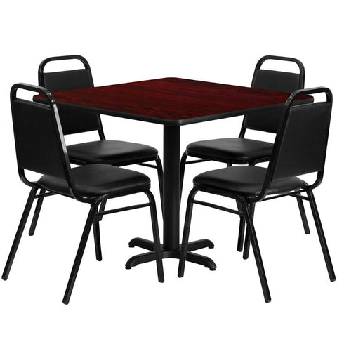 Flash Furniture HDBF1010-GG 36'' Square Mahogany Laminate Table Set with 4 Black Trapezoidal Back Banquet Chairs - Peazz Furniture