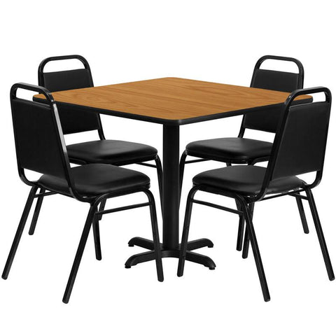Flash Furniture HDBF1011-GG 36'' Square Natural Laminate Table Set with 4 Black Trapezoidal Back Banquet Chairs - Peazz Furniture