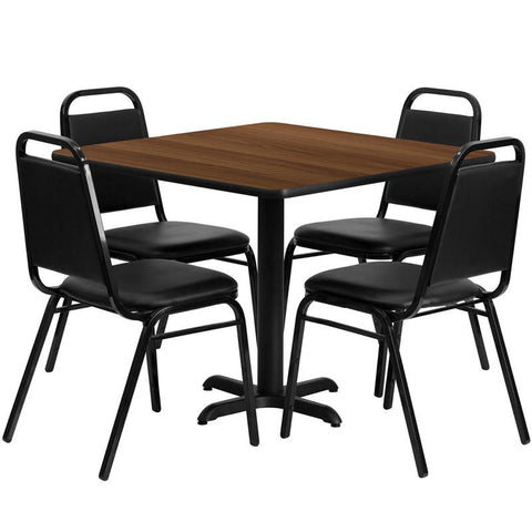 Flash Furniture HDBF1012-GG 36'' Square Walnut Laminate Table Set with 4 Black Trapezoidal Back Banquet Chairs - Peazz Furniture