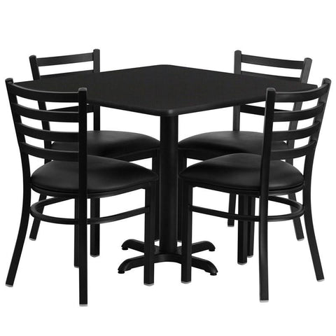Flash Furniture HDBF1013-GG 36'' Square Black Laminate Table Set with 4 Ladder Back Metal Chairs - Black Vinyl Seat - Peazz Furniture