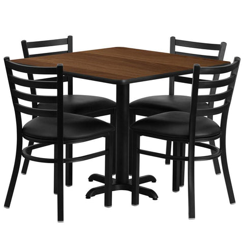 Flash Furniture HDBF1016-GG 36'' Square Walnut Laminate Table Set with 4 Ladder Back Metal Chairs - Black Vinyl Seat - Peazz Furniture