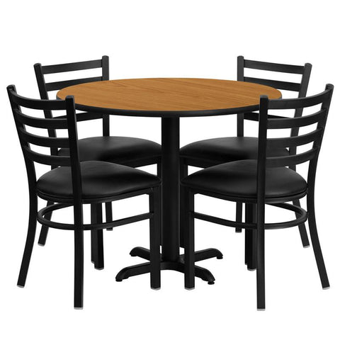 Flash Furniture HDBF1031-GG 36'' Round Natural Laminate Table Set with 4 Ladder Back Metal Chairs - Black Vinyl Seat - Peazz Furniture