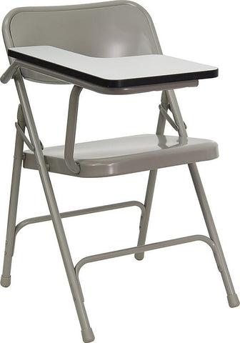 Premium Steel Folding Chair with Right Handed Tablet Arm HF-309AST-RT-GG by Flash Furniture - Peazz Furniture