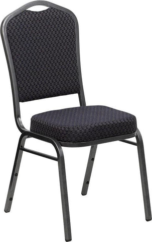 HERCULES Series Crown Back Stacking Banquet Chair with Black Patterned Fabric and 2.5'' Thick Seat - Silver Vein Frame HF-C01-SV-E26-BK-GG by Flash Furniture - Peazz Furniture