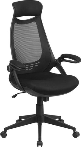 Flash Furniture HL-0018-GG High Back Executive Black Mesh Chair with Flip-Up Arms - Peazz Furniture