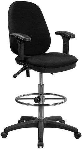 Ergonomic Multi-Functional Triple Paddle Drafting Stool with Adjustable Foot Ring and Arms KC-B802M1KG-ARMS-GG by Flash Furniture - Peazz Furniture