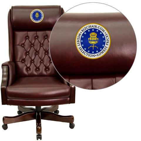 Flash Furniture KC-C696TG-EMB-GG Embroidered High Back Traditional Tufted Burgundy Leather Executive Office Chair - Peazz Furniture