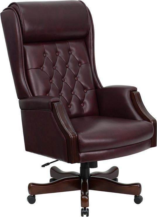 Traditional | Executive | Furniture | Burgundy | Leather | Tufted | Office | Flash | Chair | Back | High