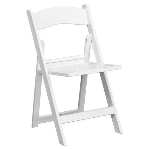 Flash Furniture LE-L-1-WH-SLAT-GG HERCULES Series 1000 lb. Capacity White Resin Folding Chair with Slatted Seat - Peazz Furniture